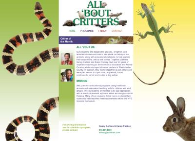 All Bout Critters Website